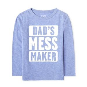 "NWT Blue ""DAD'S MESS MAKER"" Long Sleeve Top 5T"